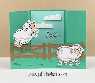 Stampin' Up! Sale-a-Bration: Counting Sheep Bridge Card + VIDEO tutorial ~ www.juliedavison.com #stampinup