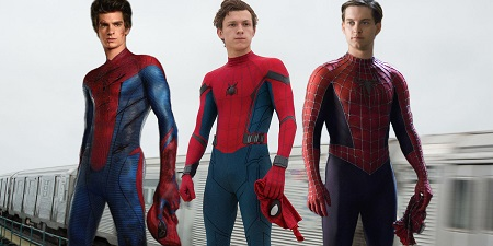 Andrey Garfield, Tom Holland e Tobey Maguire