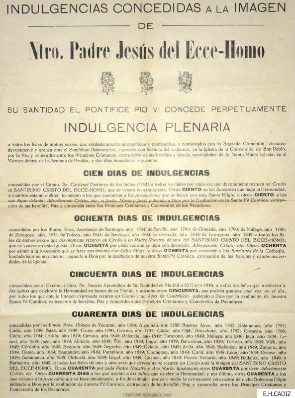 Indulgencias concedidas por Jesus del Ecce Homo de Cádiz