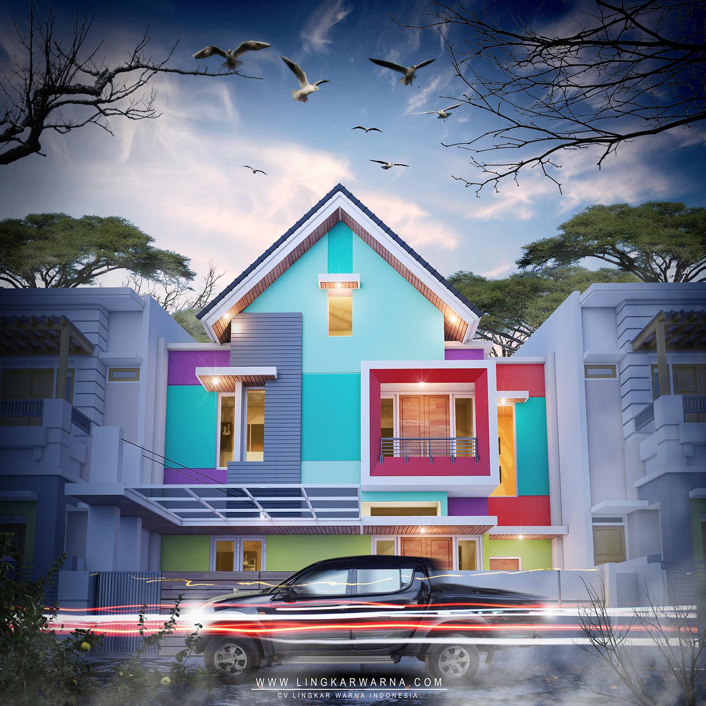 Arsitektur Rumah: Desain Warna Rumah Modern Minimalis Dua Lantai WPAP Konsep