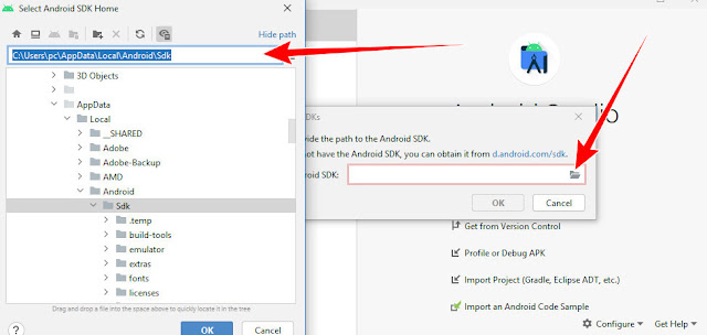 Select SDK Please provide the path to the Android SDK