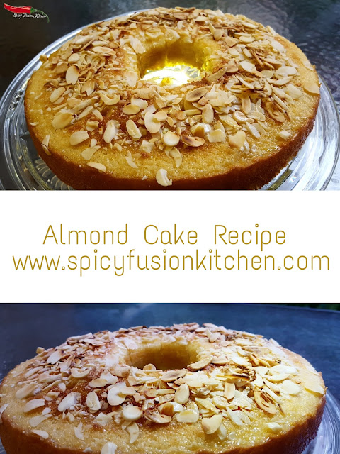 almond cake, almonds, cake, dessert, cake recipe, almond cake recipe, easy recipe, cake pictures, pinterest food, food, food blog, food blogger, baked recipe, spicy fusion kitchen, almond flakes, cake pictures