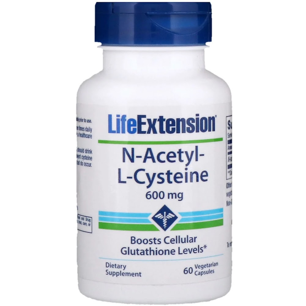 Life Extension, N-ацетил-L-цистеин, 600 мг, 60 вегетарианских капсул