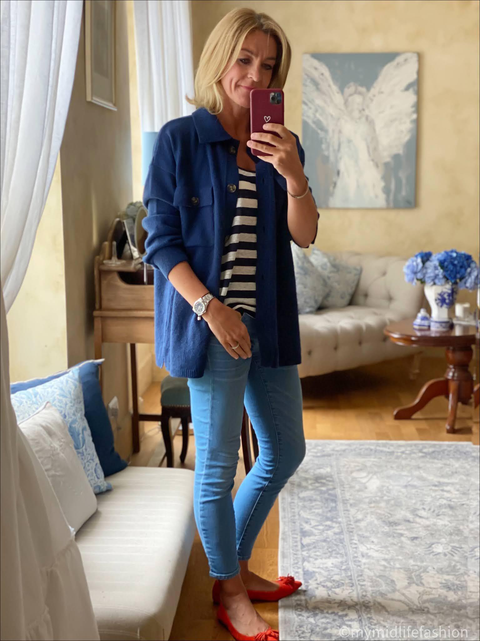 my midlife fashion, Baukjen gabby lambswool shacket, j crew stripe linen vest top, j crew 8 inch toothpick skinny jeans, j crew suede tassel ballet pumps