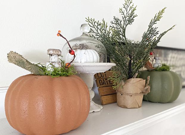 mantel pumpkins and pedestal dish