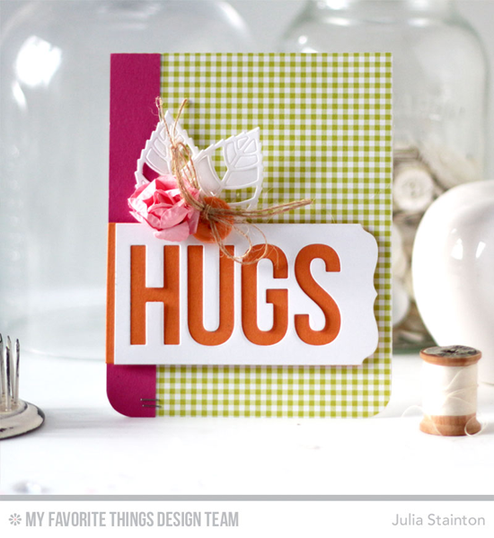 Handmade card from Julia Stainton featuring Big Hugs, Layered Leaves, and Blueprints 13 Die-namics #mftstamps