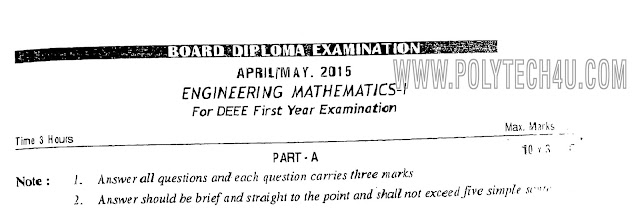 C-14 DEEE ENGINEERING MATHEMATICS-1 PREVIOUS QUESTION PAPERS MARCH/APRIL-2017