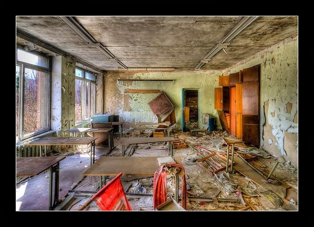Classroom in Pripyat, Chernobyl