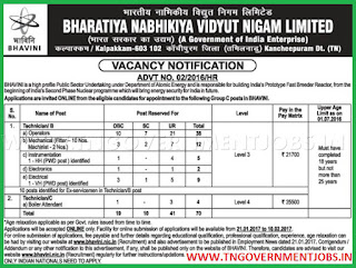Online Applications are invited 70 Technician Posts in BHAVINI Kalpakkam Tamil Nadu
