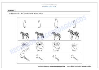 Atividade para crianças achar figura diferente tamanho imprimir pdf