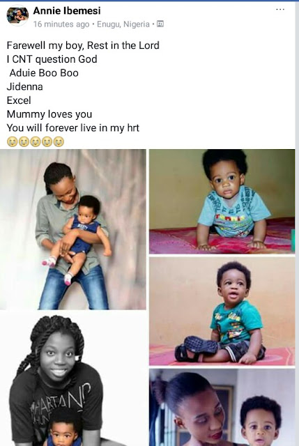 """Farewell my boy. You will forever live in my heart"" - Young Nigerian photographer loses her little son"