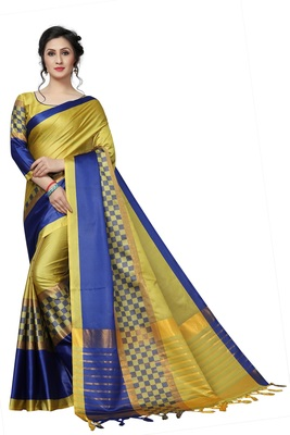 Yellow Printed Polycotton Saree