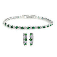 Lab Created Emerald Zirconia CZ Hoops Earrings Tennis Bracelet 7'' Set