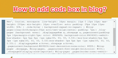 How to add code box in blog