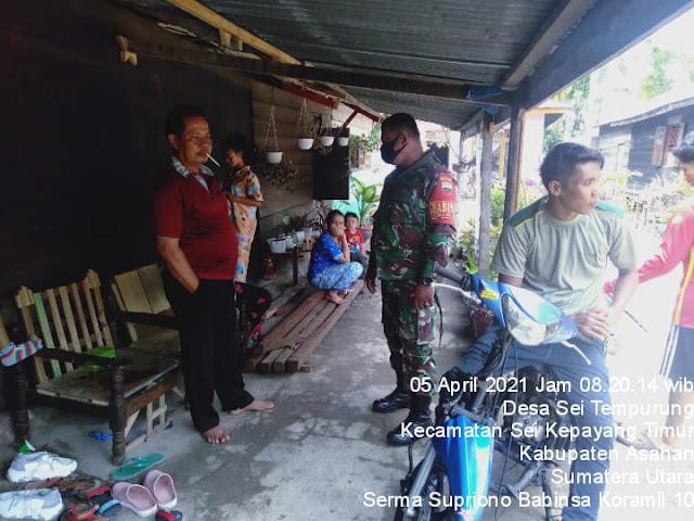 Sambangi Warga Ke Rumahnya, Personel Jajaran Kodim 0208/Asahan Sebarkan Protkes