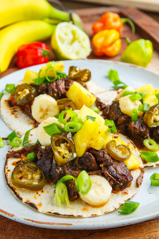 Jamaican Jerk Beef Tacos with Pineapple and Banana Salsa