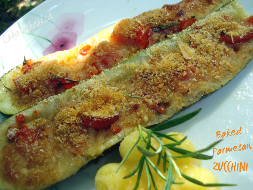 Baked Parmesan zucchini by Laka kuharica: succulent, vegetable stuffed zucchini with cheesy topping..