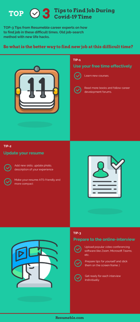 Top 3 Tips to Find a Job During Covid 19 Time #infographic