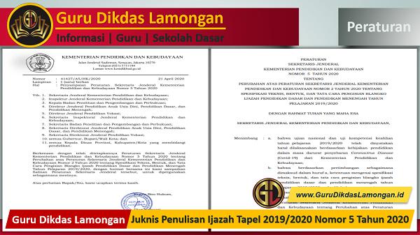 Juknis Penulisan Ijazah Tapel 2019/2020 Nomor 5 Tahun 2020