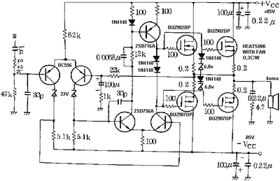 Audio Power Amplifier Circuit Diagram With Pcb Layout