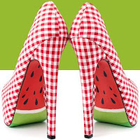 Red & white checked high heels with a watermelon graphic on the soles.