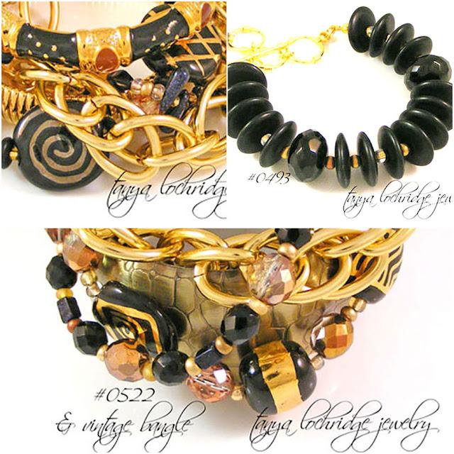 Tanya Lochridge Jewlery Onyx & Kazuri Bead Bracelets