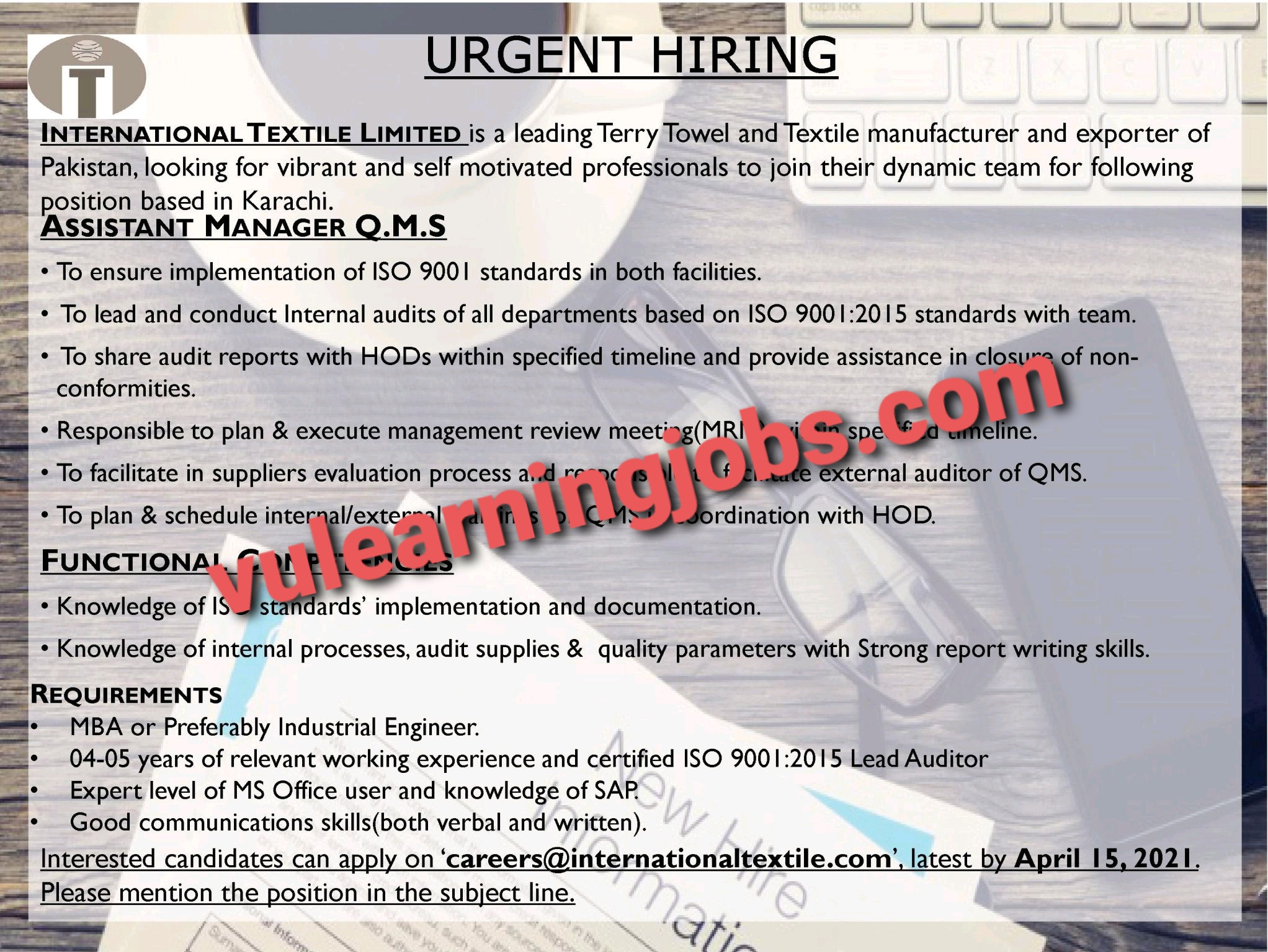 International Textile Limited April Jobs In Pakistan 2021 Latest | Apply Now