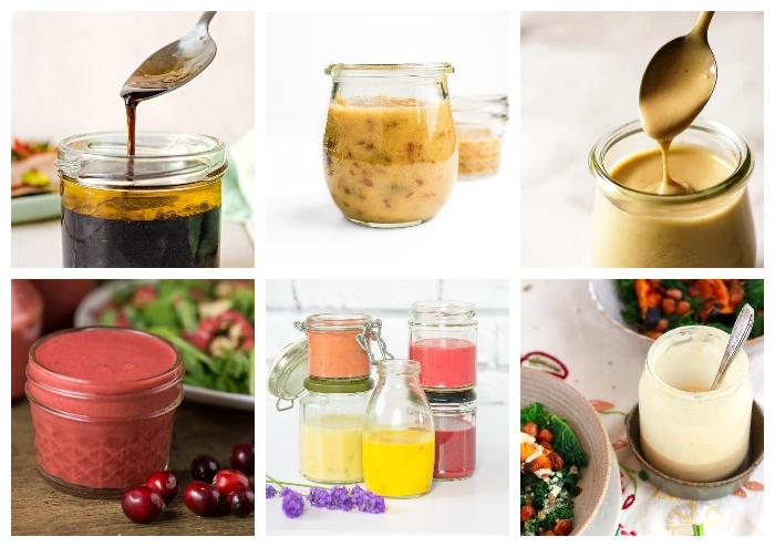 a selection of jam jar salad dressings