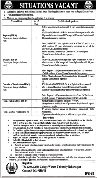 Jobs Vacancies In The Govt Sadiq College Women University 06 February 2019