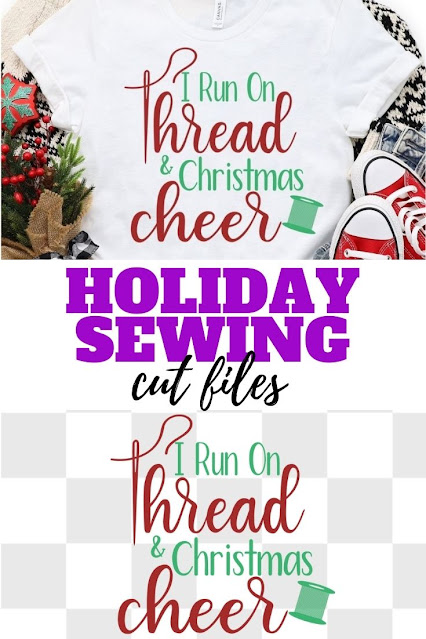 Get the I run on Thread and Christmas Cheer SVG cut file to make your own holiday tshirts.