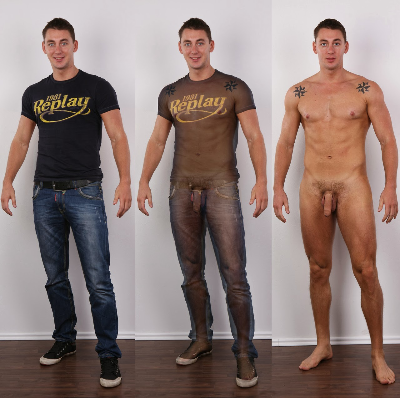 Male nude clothed
