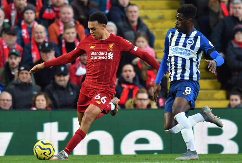 Alexander-Arnold beats his man and delivers a cross into the box