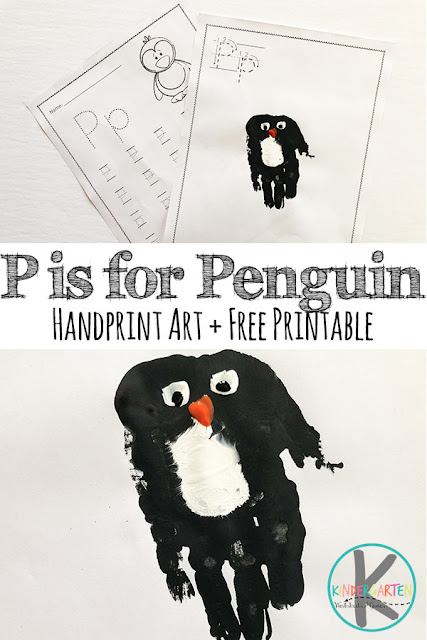 FREE Letter P Worksheets & P is for Penguin Hand Art craft for kids in preschool, prek, kindergarten, and first grade