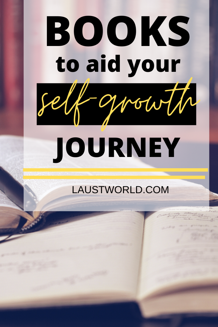 Pinterest graphic that says books to aid your self-growth journey