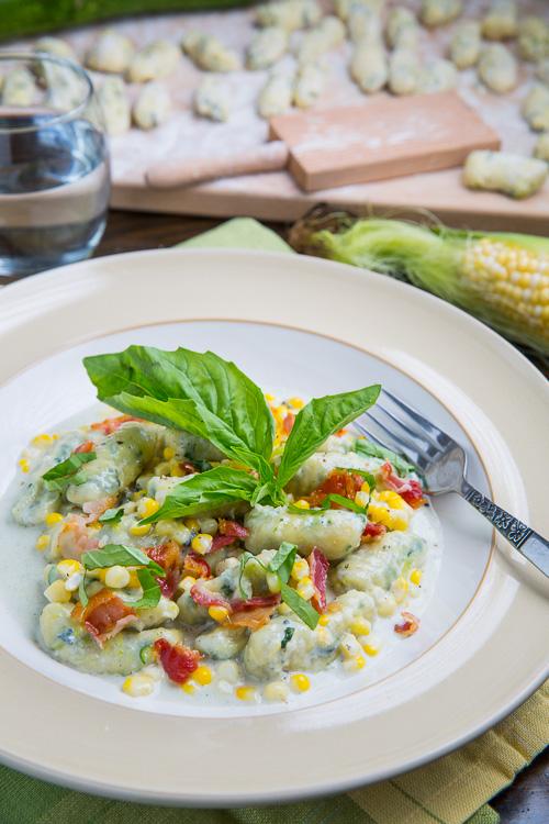 Zucchini Ricotta Gnocchi and Corn in Creamy Gorgonzola Sauce with Crispy Crumbled Pancetta