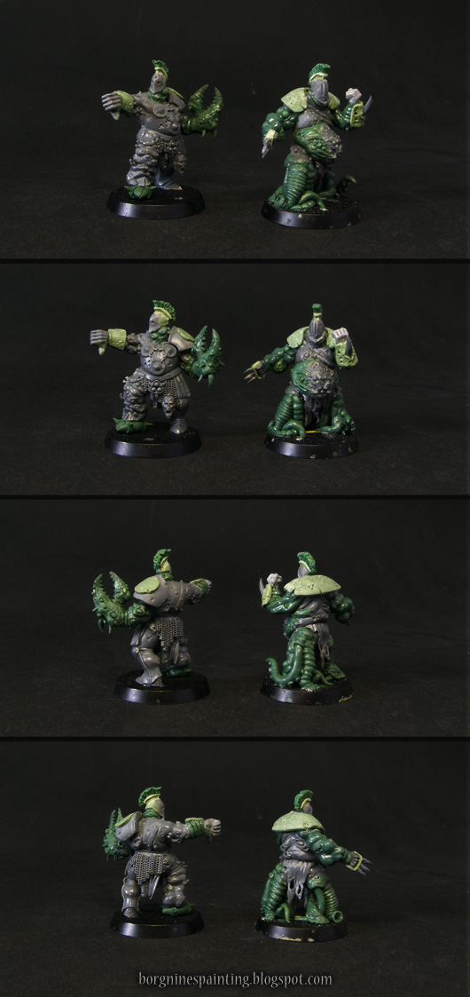 2 unpainted Bloaters of Nurgle miniatures for use in Blood Bowl, converted out of Putrid Blightkings using greenstuff, visible from different angles. One on the left has a giant picer for his hand, representing the 'Claw' mutation. One on the right has tentacles for legs, representing the 'Stand Firm' skill.