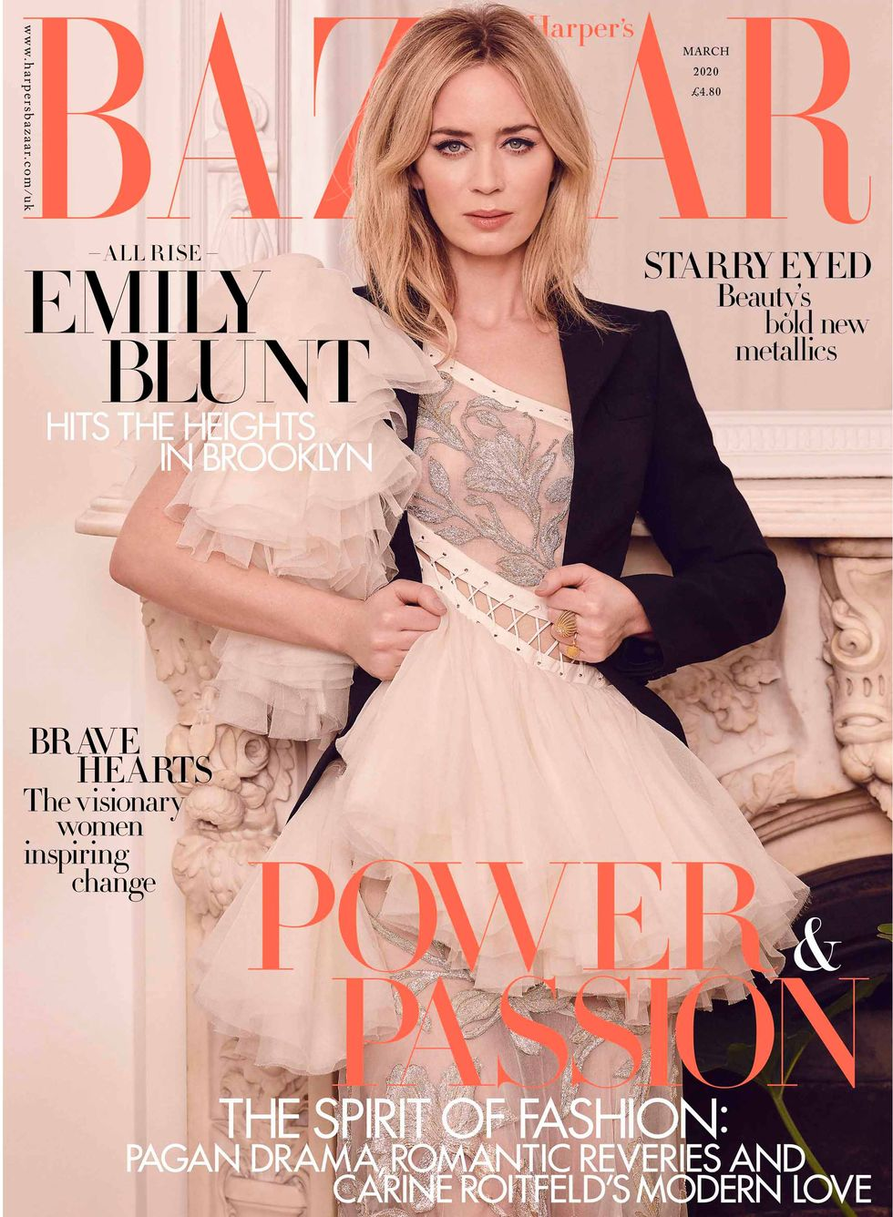 Emily wears Alexander McQueen dress and Cartier jewellery on the newsstand cover