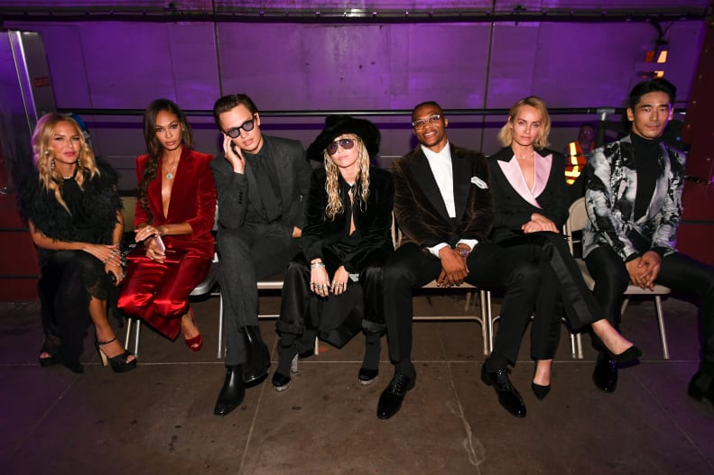 Rachel Zoe, Joan Smalls, Ansel Elgort, Miley Cyrus, Russell Westbrook, Amber Valletta, Naoki Kobayashi at Tom Ford Spring-Summer 2020