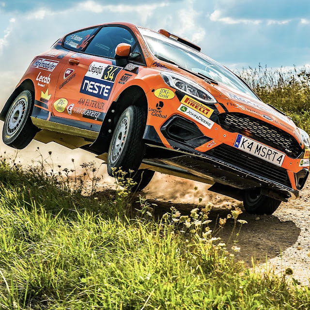 Ford Fiesta Rally 4 in action on two wheels