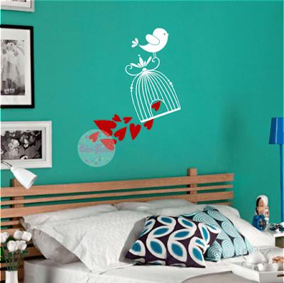 vinilo decorativo pared habitacion, living, jaula, pajaro, amor, corazones