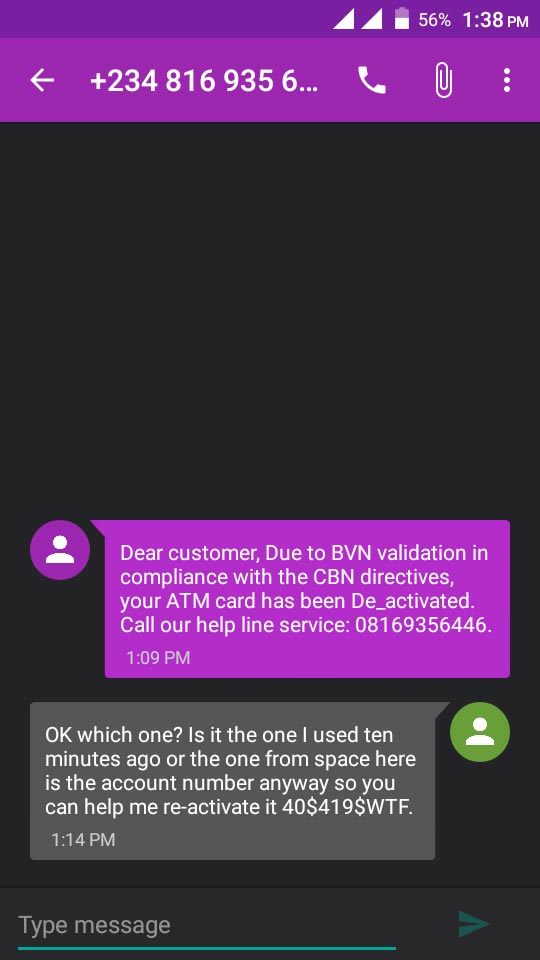 See reply a Nigerian gave to a fraudster demanding his ATM details