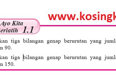 Kunci Jawaban Matematika Kelas 8 Halaman 12 Ayo Kita Berlatih 1.1