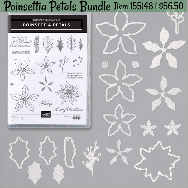 poinsettia petals stamp set, poinsettia dies, stampin' up!, poinsettia petals bundle, stamp kits, stamp class, online stamp class, christmas, stampin' up! holiday catalog, nicole steele, the joyful stamper, independent stampin' up! demonstrator from pittsburgh pa