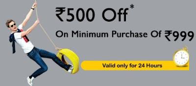 Get Rs.500 OFF on Purchase of Apparels worth Rs.999 (Hurry!! Offer Valid for 24 Hour Only)