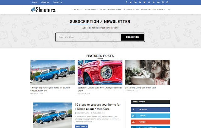 Shouters Responsive Magazine Personal Blog Tutorial Blogger Template Theme
