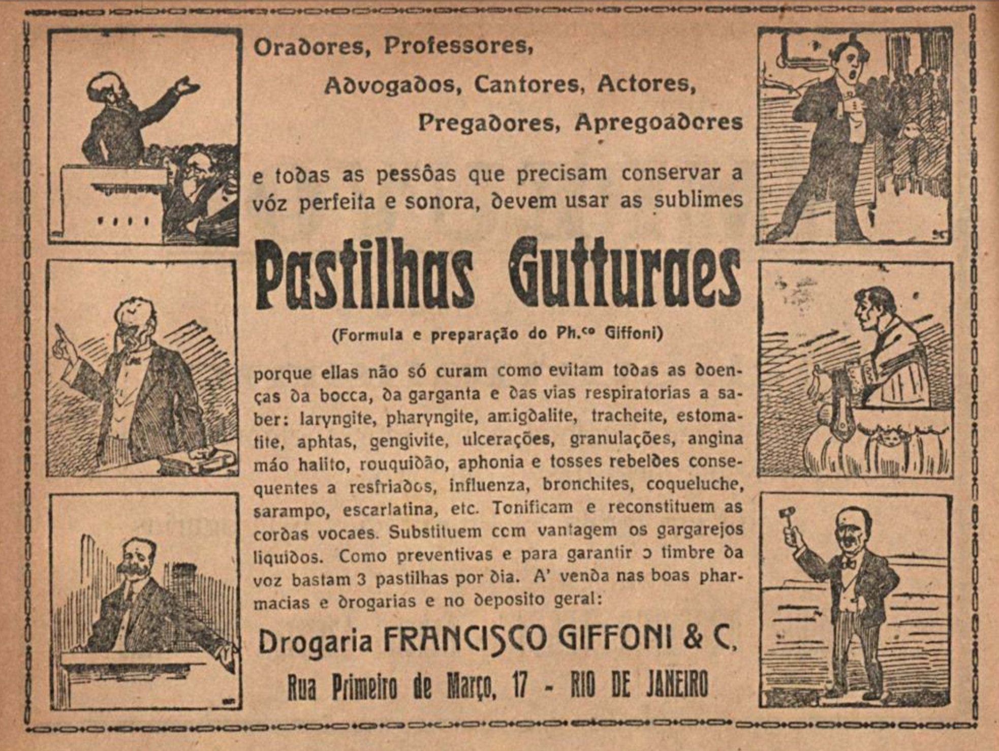 Anúncio antigo veiculado em 1921 das Pastilhas Gutturaes para cuidados com a garganta