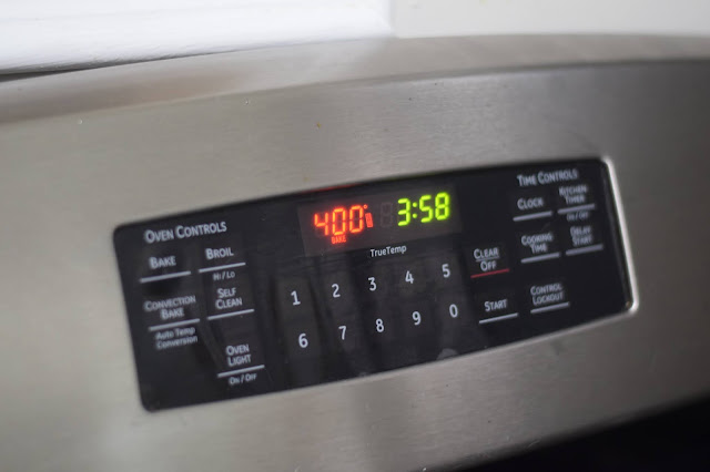 The oven preheated to 400 degrees.
