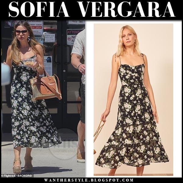 Sofia Vergara in black floral print midi dress reformation emmie. Celebrity summer vacation style
