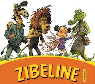 BD Zibeline: Tannicia et ses nouveau amis Choubère (le chameau), D'Jo (le lion) et Merline (la crocodile)