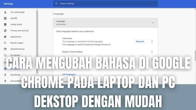 "Cara Mengubah Bahasa Di Google Chrome Pada Laptop Dan PC Dekstop Dengan Mudah Di dalam mengubah bahasa di Google Chrome pada laptop dan pc desktop atau komputer, ada beberapa langkah-langkah yang harus di ikuti sesuai perangkat yang digunakan diantaranya adalah :  Cara Mengubah Bahasa Di Google Chrome Pada Laptop Untuk mengubah bahasa di Google Chrome pada laptop, bisa mengikuti langkah-langkah berikut :  Pada laptop silahkan buka Google Chrome Pada bagian kanan atas klik Ikon Titik Tiga Pilih Setelan Pada bagian bawah pilih Lanjutan Pada bagian Bahasa pilih Bahasa Disamping bahasa yang ingin digunakan, silahkan pilih Ikon Titik Tiga Pilih Tampilkan Google Chrome Dalam Bahasa Ini Pilih Mulai Ulang Chrome untuk menerapkan perubahan   Cara Mengubah Bahasa Di Google Chrome Pada PC Desktop atau Komputer Untuk mengubah bahasa di Google Chrome pada komputer atau pc desktop, bisa mengikuti langkah-langkah berikut :  Pada komputer silahkan buka Google Chrome Pada bagian kanan atas klik Ikon Titik Tiga Pilih Setelan Pada bagian bawah pilih Lanjutan Pada bagian Bahasa pilih Bahasa Disamping bahasa yang ingin digunakan, silahkan pilih Ikon Titik Tiga Pilih Tampilkan Google Chrome Dalam Bahasa Ini Pilih Mulai Ulang Chrome untuk menerapkan perubahan    Nah itu dia bagaimana cara mengubah bahasa di Google Chrome pada laptop, hp, serta pc desktop dengan mudah. Melalui bahasan di atas bisa diketahui beberapa langkah yang harus di ikuti untuk mengubah bahasa di Google Chrome pada laptop, hp, serta pc desktop. Mungkin hanya itu yang bisa disampaikan di dalam artikel ini, mohon maaf bila terjadi kesalahan di dalam penulisan, dan terimakasih telah membaca artikel ini.""God Bless and Protect Us"""